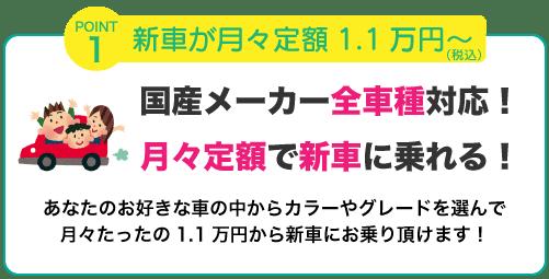 新車が月々定額1.1万円(税込)〜乗れる!
